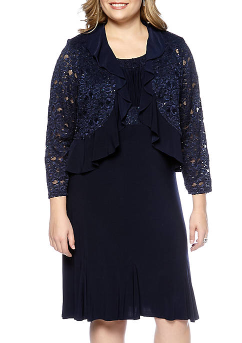 Plus Size Lace Jacket Dress
