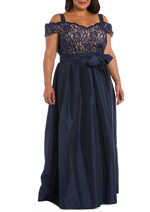RM Richards Plus Size Cold Shoulder Lace Bodice