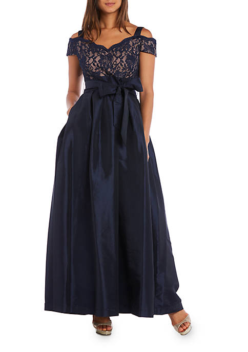 RM Richards Cold-Shoulder Lace Bodice Ball Gown