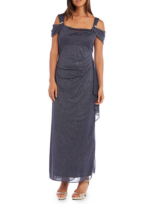 RM Richards Cold Shoulder Empire-Waist Gown