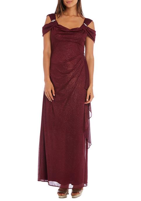Womens Cold Shoulder Side Ruch Sparkle Long Dress