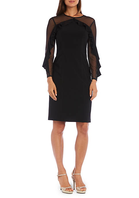 RM Richards Illusion Yoke and Ruffle Sleeve Sheath