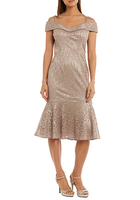 RM Richards Womens Off the Shoulder Cocktail Dress