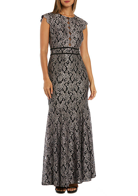 Long Glitter Lace Gown
