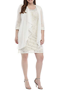 RM Richards Plus Size 2 Piece Sheer Jacket and Dress