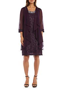 Two Piece Jewel Neck Lace Short Dress