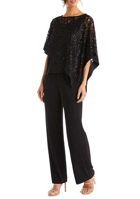 Womens Glitter Lace Cape Sleeve Top and Pants Set