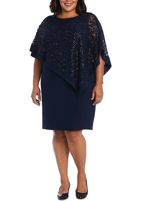 R & M Richards Plus Size Lace Poncho