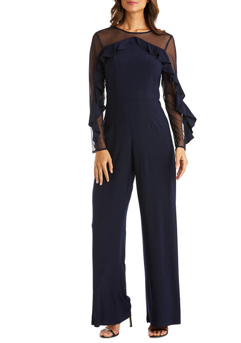 R & M Richards Petite Ruffle Jumpsuit