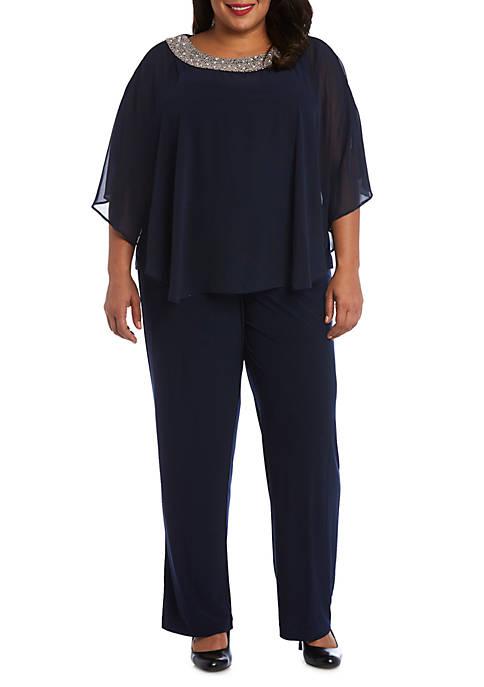 Plus Size 2 Piece Beaded Neck Poncho Pant Set