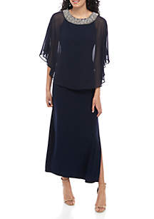 RM Richards Bead Embellished Chiffon Poncho Overlay Gown