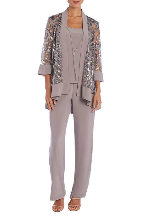 Womens 3-Piece Sequin Pant Suit Set