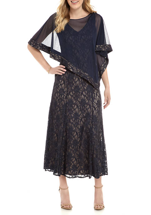 R & M Richards Womens Cape Glitter Lace
