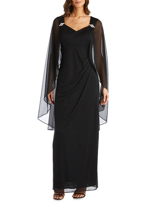 RM Richards Womens Side Ruched Cape Gown
