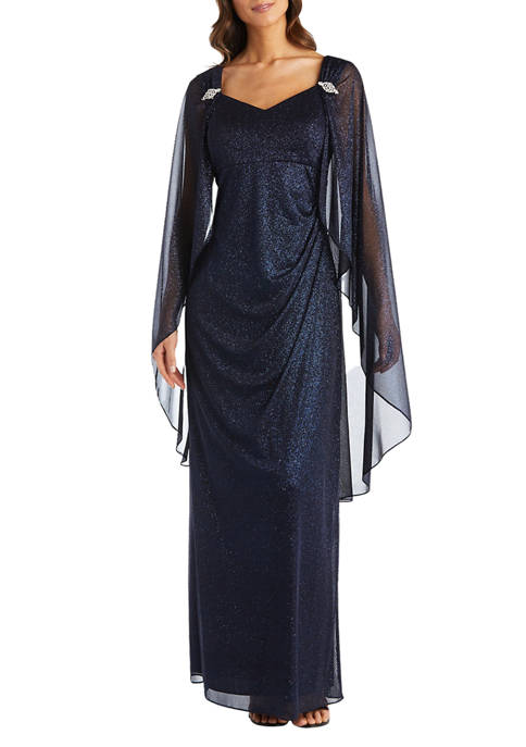 R & M Richards Womens Long Glitter Cape
