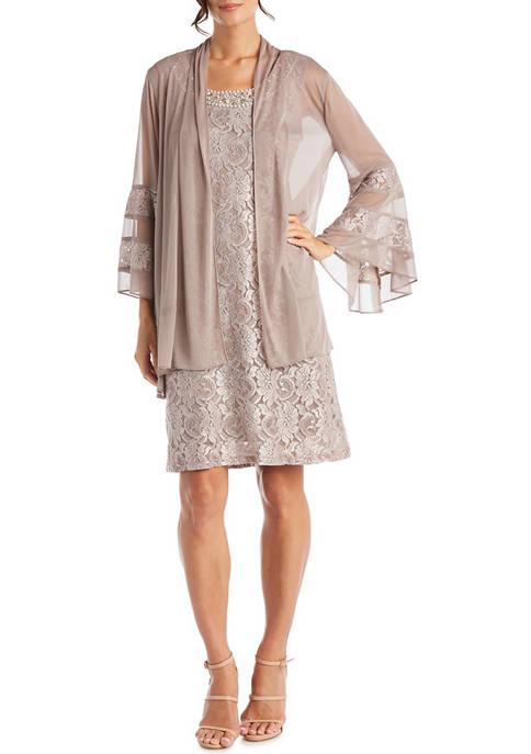 RM Richards 2 Piece Bell Sleeve Jacket Dress