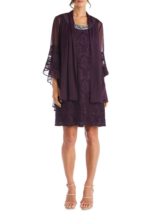 2 Piece Bell Sleeve Jacket Dress Over Lace and Beaded Shift Dress