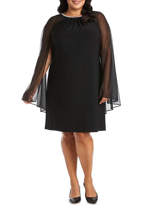 Plus Size One-Piece Illusion Sleeve Dress