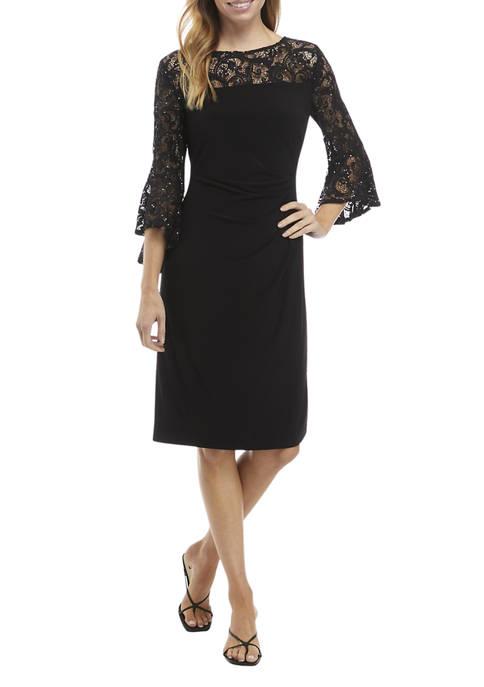 Womens 3/4 Bell Sleeve Side Ruch Lace Yoke Dress