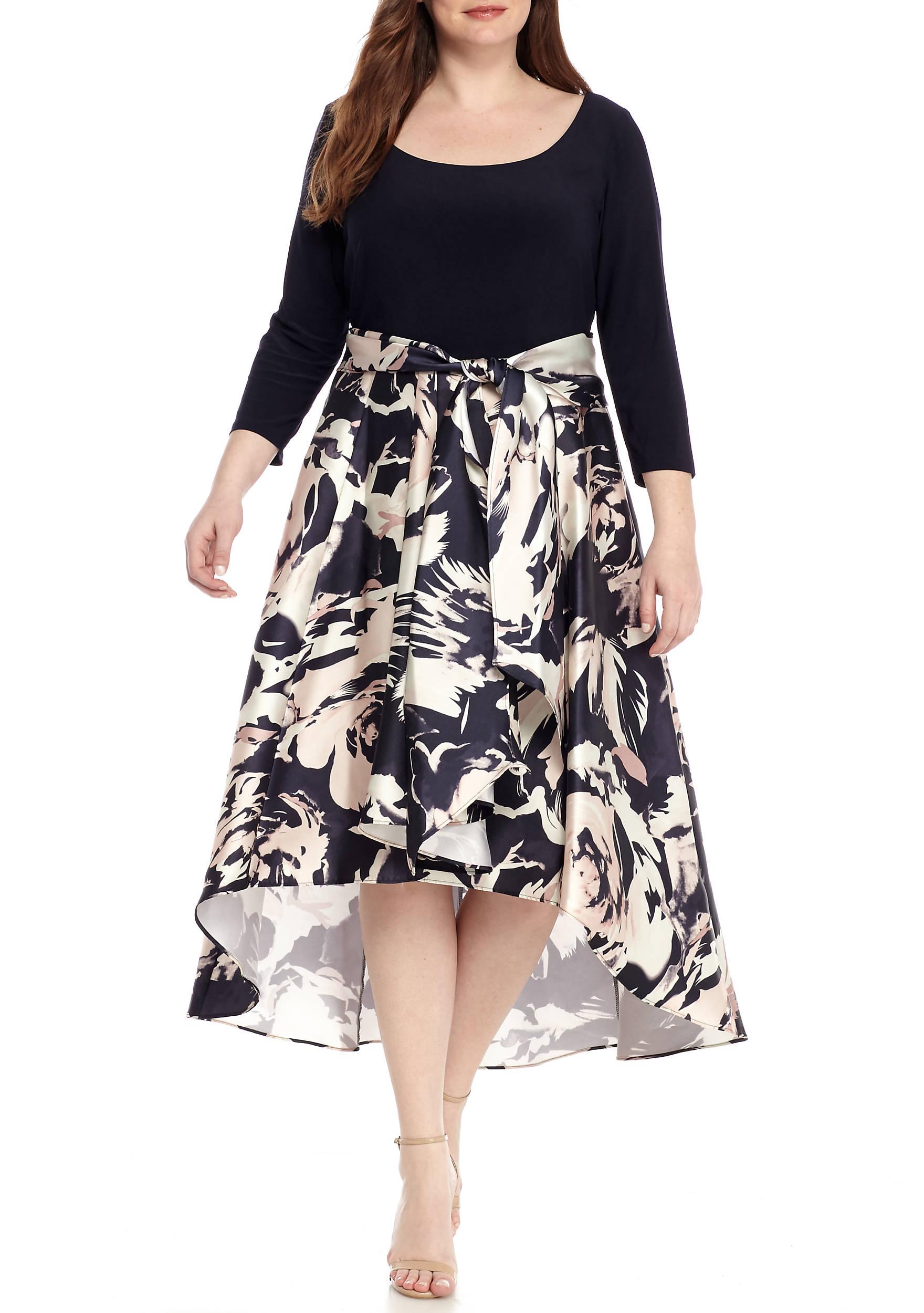 RM Richards Plus Size Floral Printed Hi-Lo Hem Cocktail Dress   belk