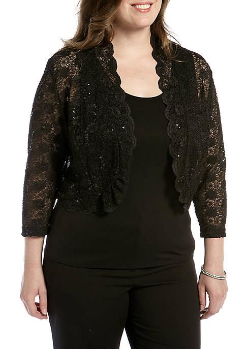 Rm Richards Plus Size Long Sleeve Lace Shrug Belk