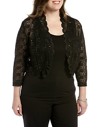 Plus Size Long-Sleeve Lace Shrug