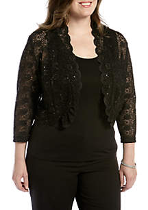 Plus Size Long-Sleeve Lace Shrug