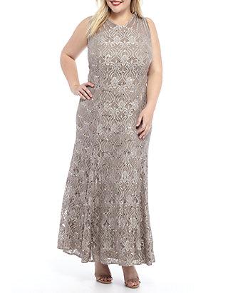 RM Richards Plus Size Sequin Lace Long Gown | belk