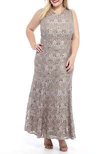 RM Richards Plus Size Sequin Lace Long Gown