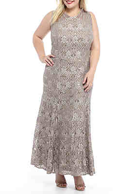 62ab7d082381 RM Richards Plus Size Sequin Lace Long Gown ...