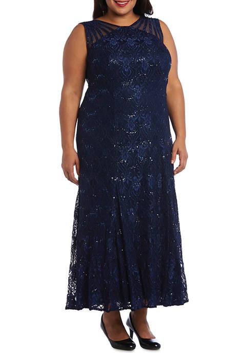 R & M Richards Plus Size Sequin Lace