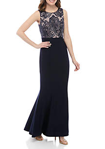 RM Richards Sequin Lace Bodice Mermaid Gown