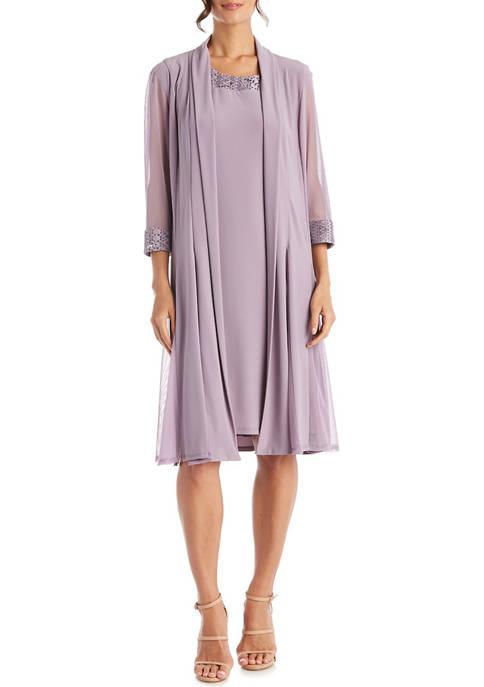 2 Piece Sequin Neck Sleeve Detail Short Dress