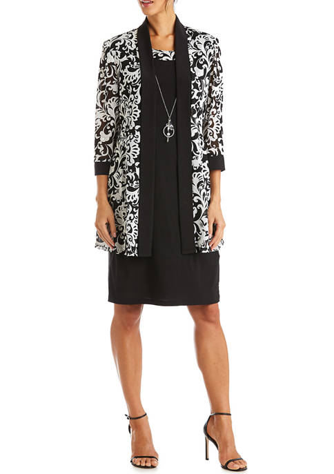 RM Richards 2 Piece Printed Jacket Over Solid