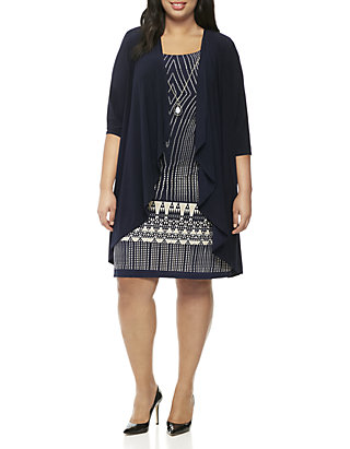 R & M Richards Plus Size Printed Dress with Jacket | belk