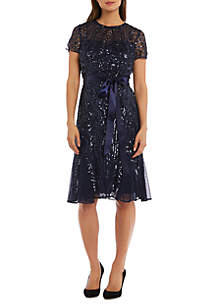 Short Sleeve Allover Sequin Short Dress