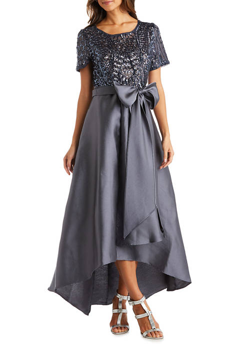 Womens Sequins Bodice High Low  Dress
