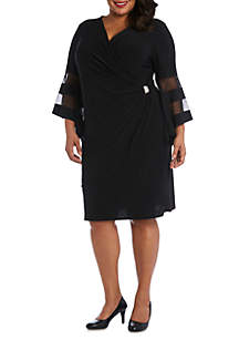 RM Richards Plus Size Ruched Waist Short Sheath Dress