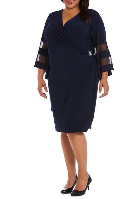 Plus Size Ruched Waist Short Sheath Dress