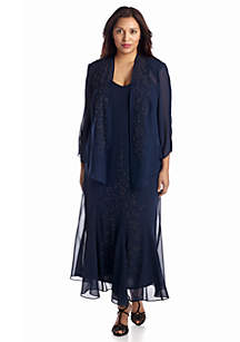 Plus Size Bead Embellished Jacket Dress