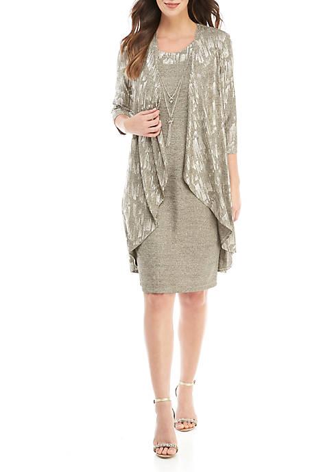 R & M Richards Metallic Jacket Dress with
