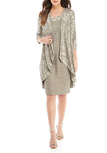 Metallic Jacket Dress with Necklace