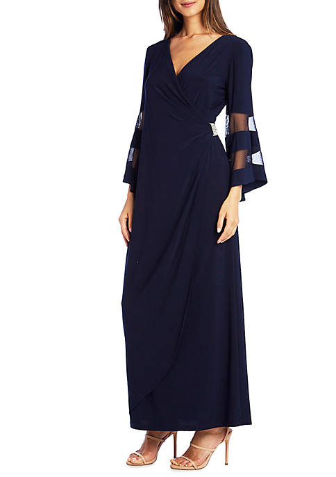 Illusion Sleeve Long Gown