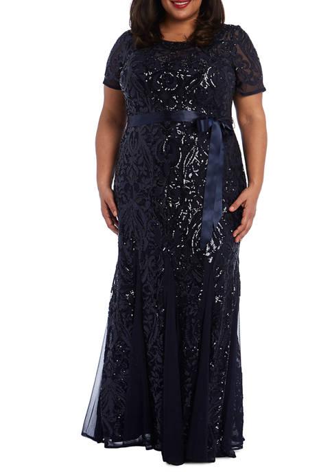 RM Richards Plus Size Short Sleeves Embellished Sequins