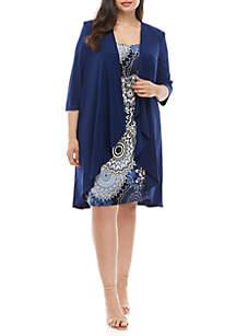 R & M Richards Plus Size Solid Jacket Printed Dress Set