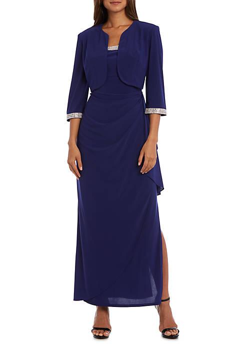 Long Sleeve Rhinestone Cascade Jacket Gown