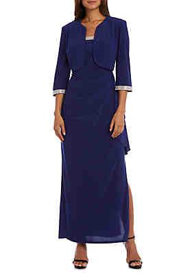 9a609cc32952 RM Richards Long Sleeve Rhinestone Cascade Jacket Gown ...