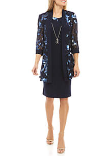 RM Richards Long Sleeve Lace Floral Jacket Dress