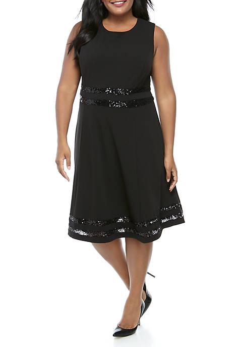 Plus Size Sleeveless Sequin Trim Short Dress