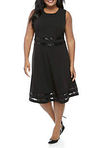 RM Richards Plus Size Sleeveless Sequin Trim Short Dress